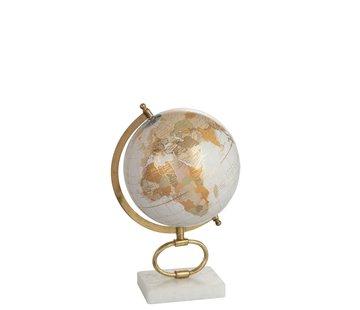 J -Line Globe On Foot Marble White Metal Gold - Medium
