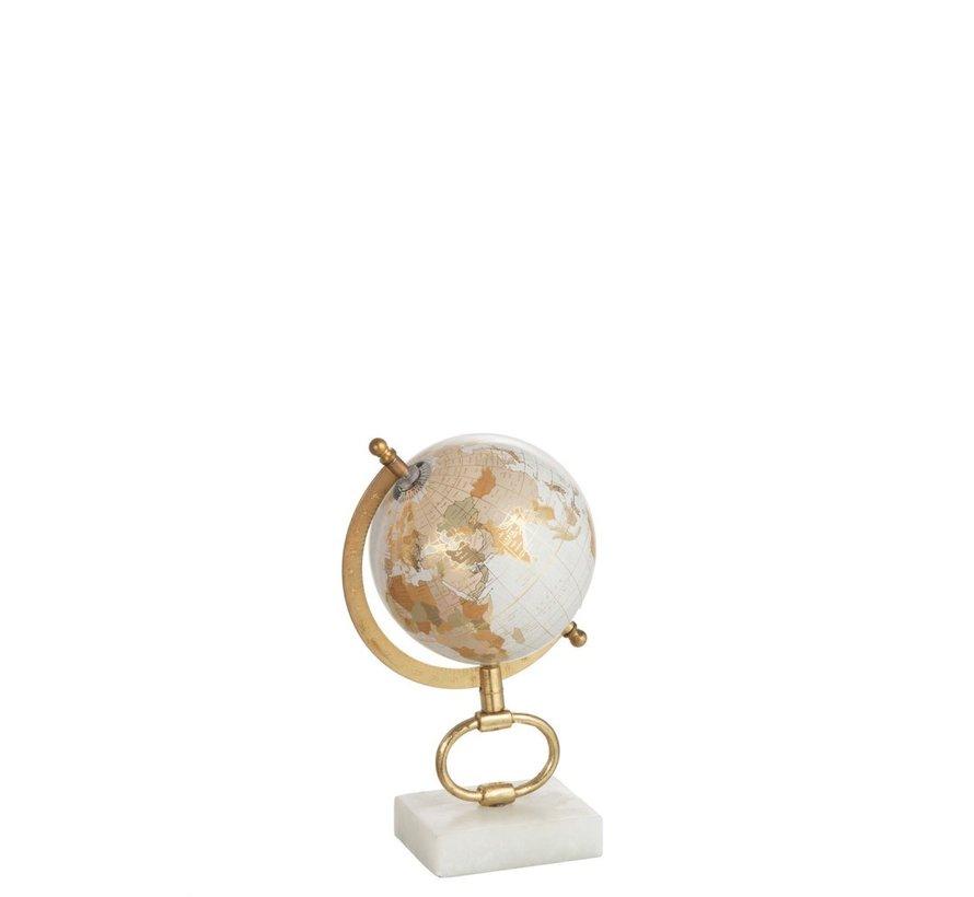 Wereldbol Op Voet Marmer Wit Metaal Goud - Small