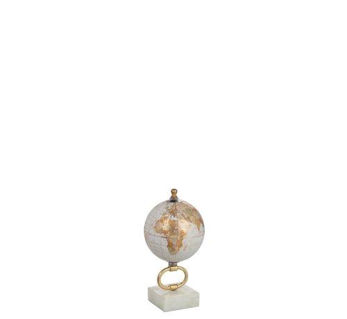 J -Line Wereldbol Op Voet Marmer Wit Metaal Goud - X Small
