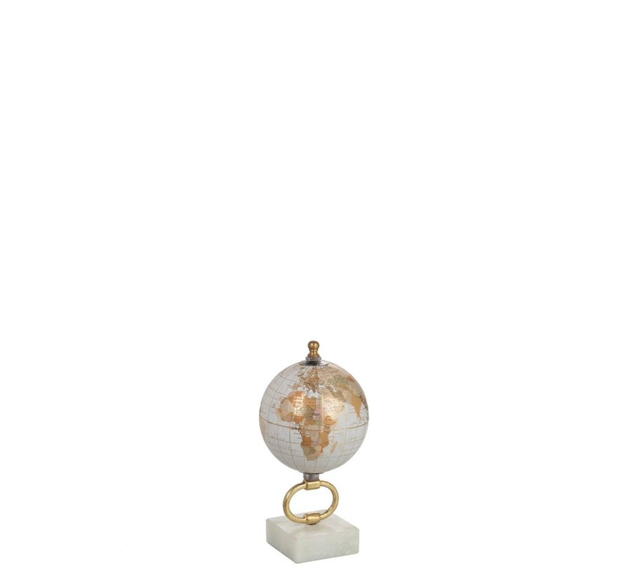 Globe On Foot Marble White Metal Gold - X Small