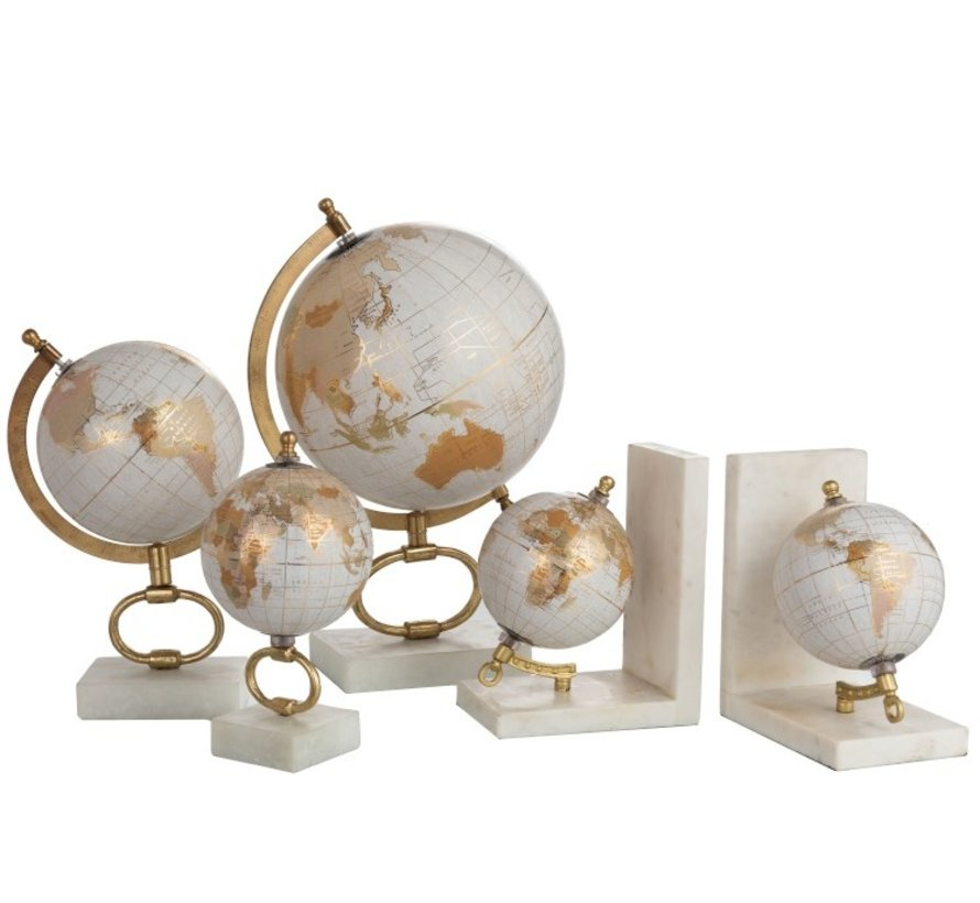 Bookend Globe Marble White Metal - Gold