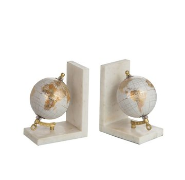 J -Line Bookend Globe Marble White Metal - Gold
