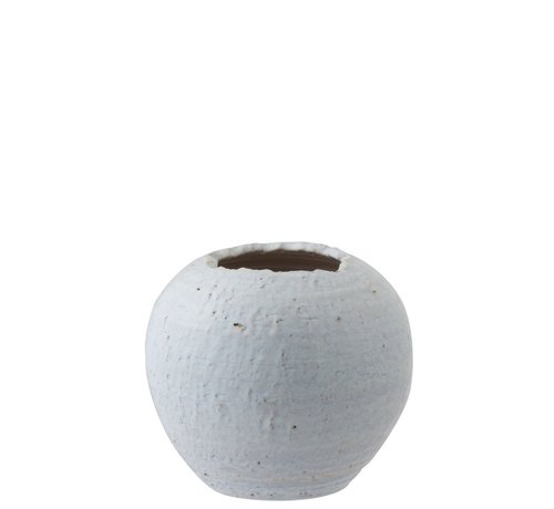 J -Line Flowerpot Round Ceramic Raw White - Mother-of-pearl
