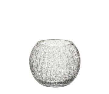 J -Line Tea Light Holder Glass Ball Krakeling Transparent - Small