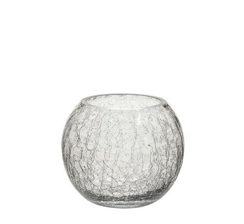 J-Line Tea Light Holder Glass Ball Krakeling Transparent - Small