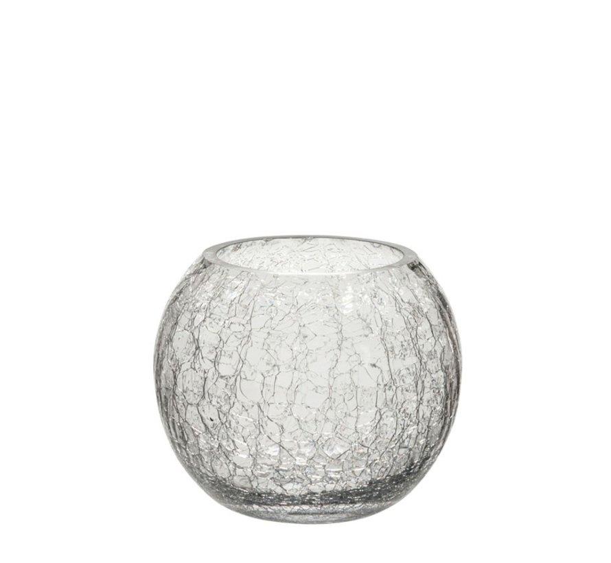 Tea Light Holder Glass Ball Krakeling Transparent - Small