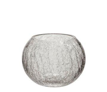 J -Line Tealight holder Glass Ball Krakeling Transparent - Medium