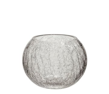 J-Line Theelichthouder Glas Bol Krakeling Transparant - Medium