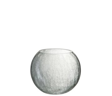 J-Line Theelichthouder Glas Bol Krakeling Transparant - Large