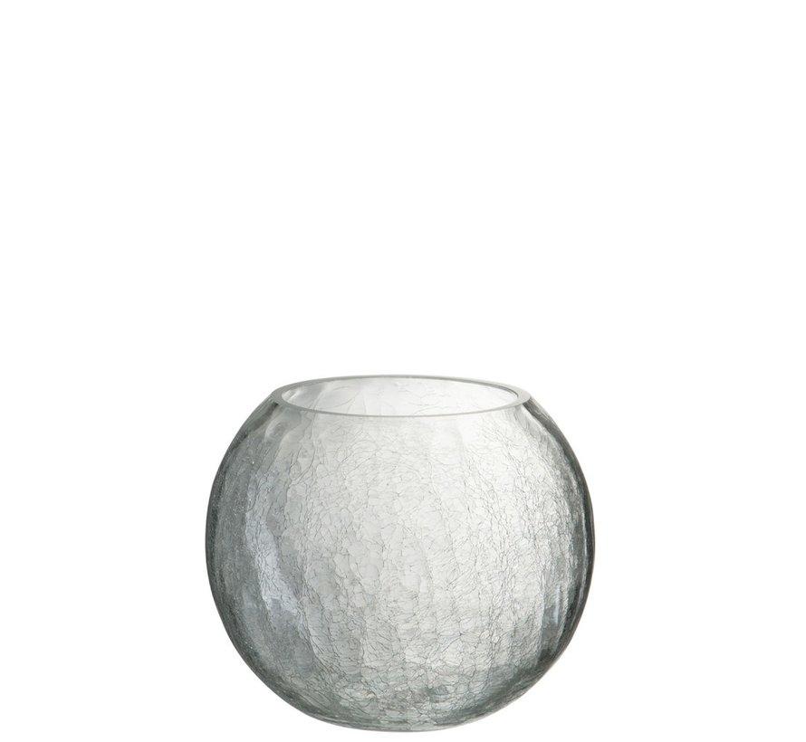 Theelichthouder Glas Bol Krakeling Transparant - Large