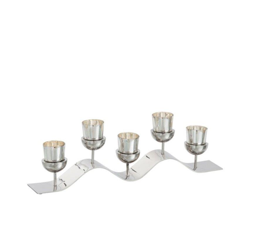 Theelichthouder Op Staander Metaal Glas - Zilver