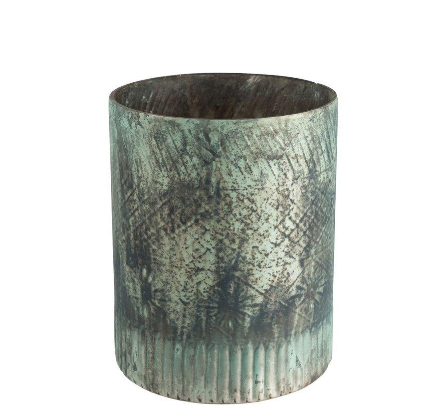 Theelichthouder Glas Cilinder Blauw Azuur - Large