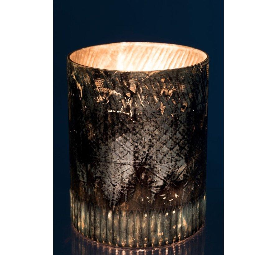 Tealight holder Glass Cylinder Blue Azure - Large
