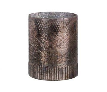J-Line Theelichthouder Glas Cilinder Antiek Zalm - Large