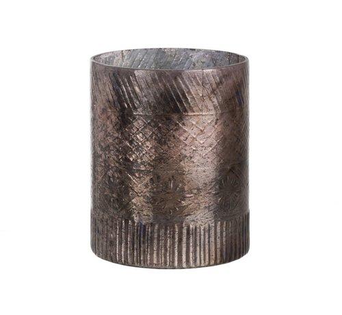 J -Line Theelichthouder Glas Cilinder Antiek Zalm - Large