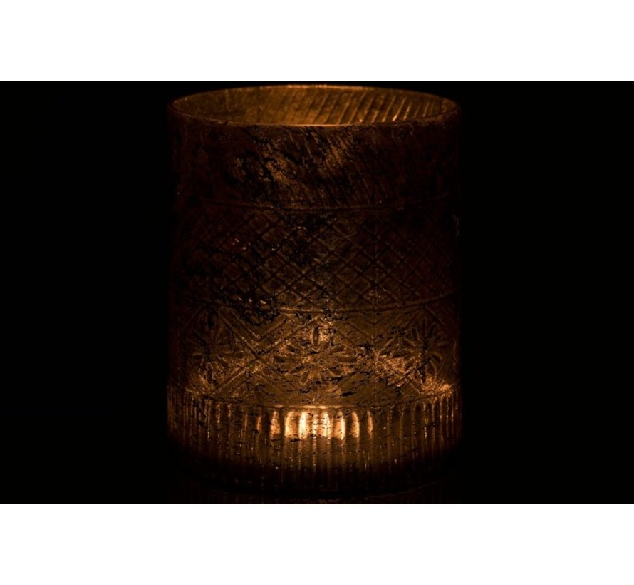 Theelichthouder Glas Cilinder Antiek Zalm - Large