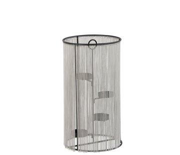 J-Line Theelichthouder Cilinder Metaal ketting Zilver - Large