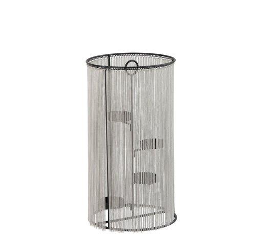 J-Line Tealight holder Cylinder Metal chain Silver - Large