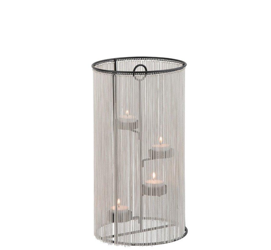 Theelichthouder Cilinder Metaal ketting Zilver - Large