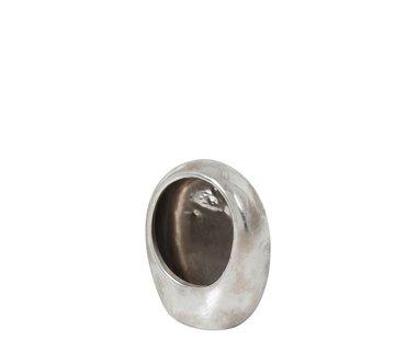 J-Line Tea light holder Earthenware Egg Silver - Medium