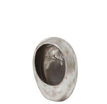 J -Line Tea light holder Earthenware Egg Silver - Large