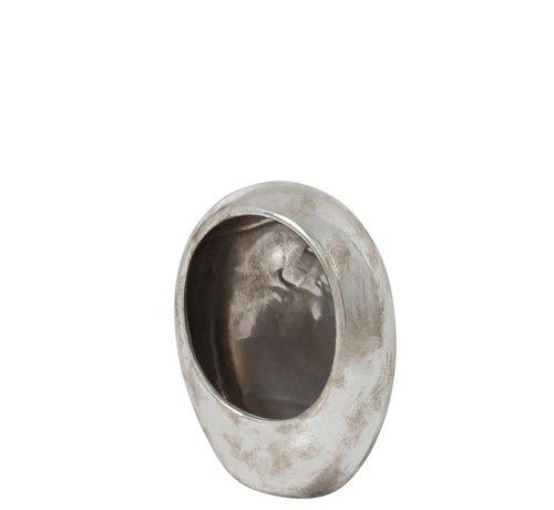 J-Line Tea light holder Earthenware Egg Silver - Large