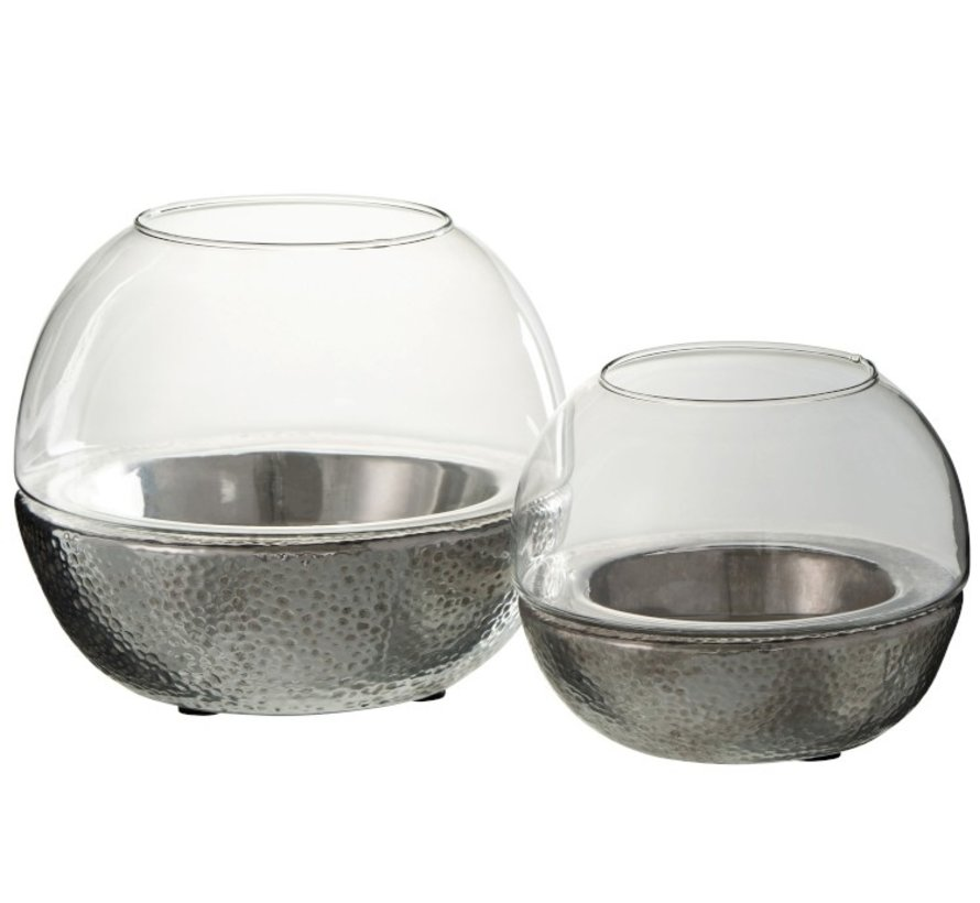 Theelichthouder Bol Glas Aardewerk Zilver - Large