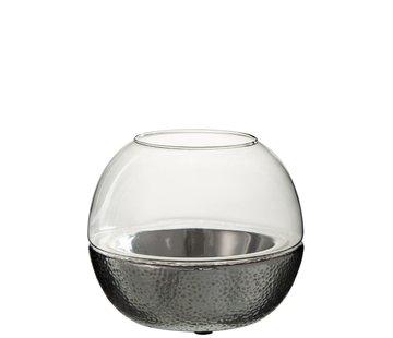 J -Line Tealight holder Sphere Glass Pottery Silver - Large
