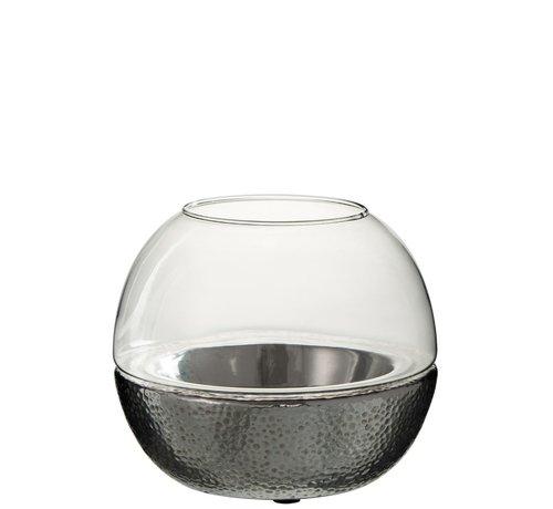 J -Line Theelichthouder Bol Glas Aardewerk Zilver - Large
