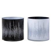 J-Line Tea Light Holder Glass Pine Black White - Large