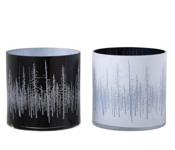 J-Line Theelichthouder Glas Dennenboom Zwart Wit - Large