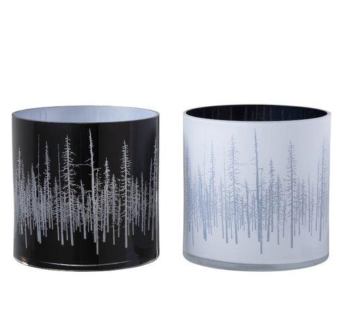 J -Line Theelichthouder Glas Dennenboom Zwart Wit - Large