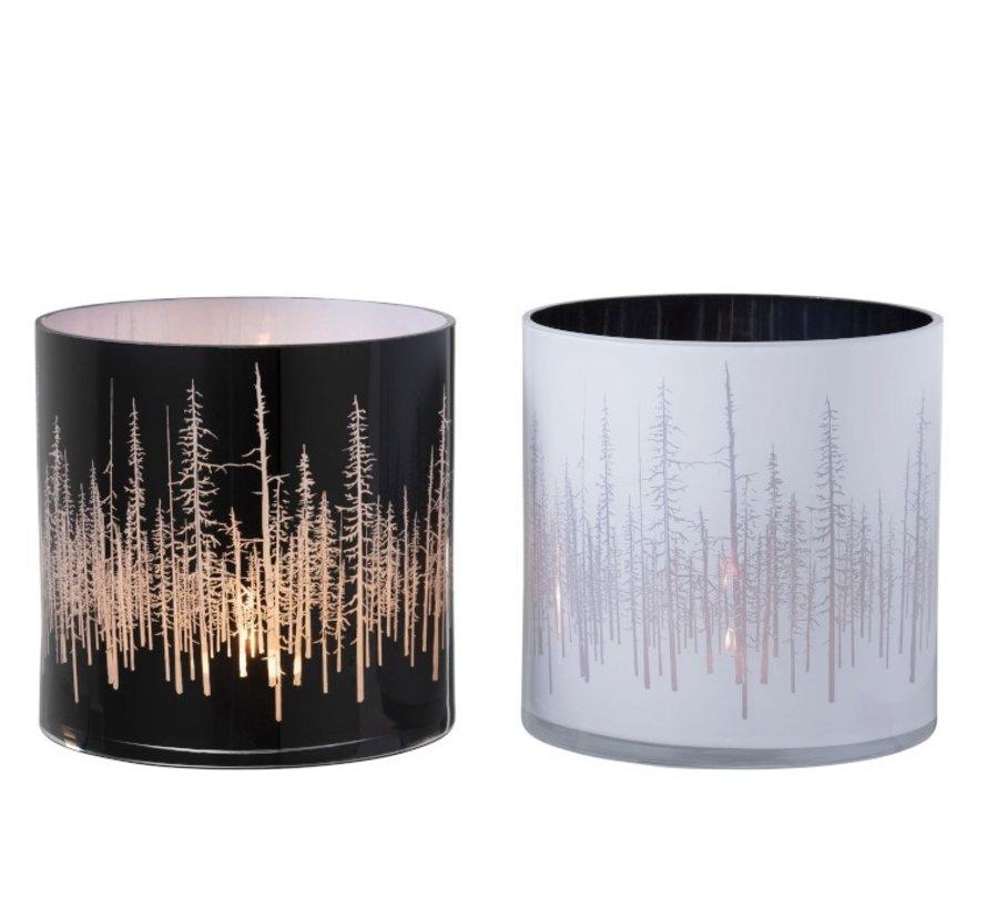 Tea Light Holder Glass Pine Black White - Large