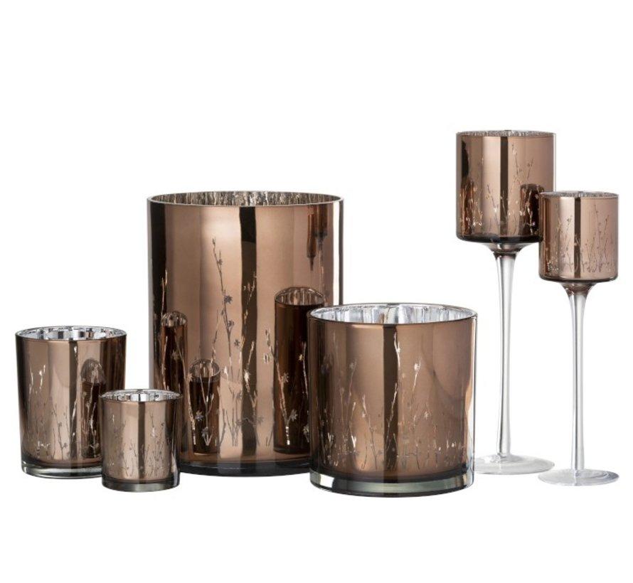 Theelichthouder Glas Bloemen Bruin- Large