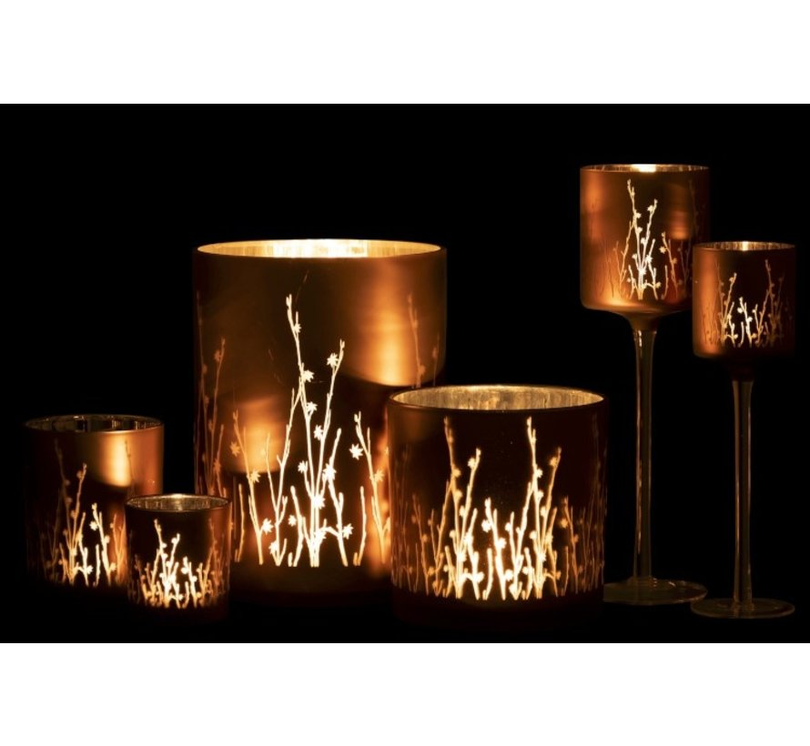 Tea Light Holder Glass Flowers Brown- Large
