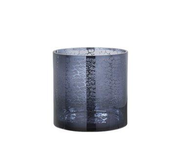 J -Line Tealight Holder Glass Snakes Print Blue - Large
