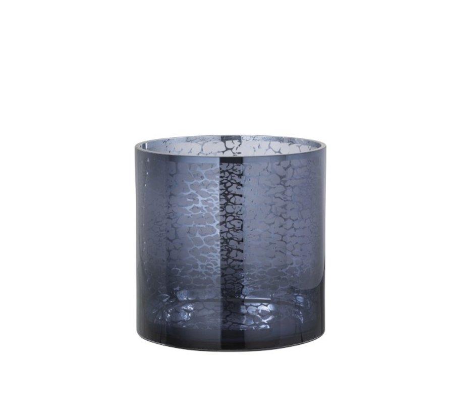 Theelichthouder Glas Slangen Print Blauw - Large