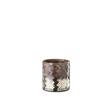 J -Line Tea Light Holder Glass Mosaic Pink Bordeaux - Small
