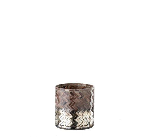 J -Line Theelichthouder Glas Mozaiek Roze Bordeaux - Small