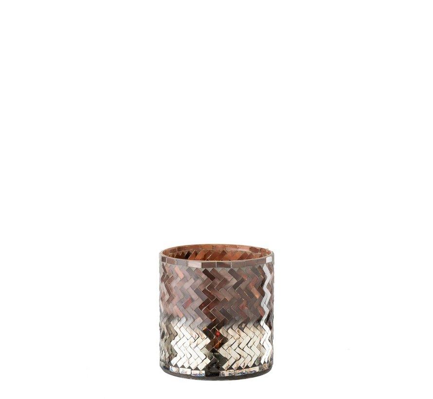 Theelichthouder Glas Mozaiek Roze Bordeaux - Small