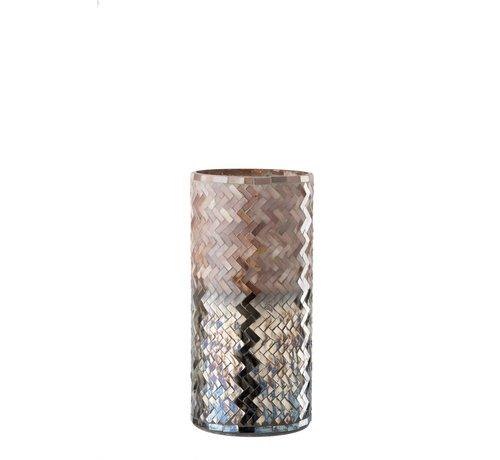 J -Line Theelichthouder Glas Mozaiek Roze Bordeaux  - Large