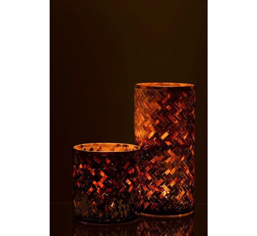 Theelichthouder Glas Mozaiek Roze Bordeaux  - Large
