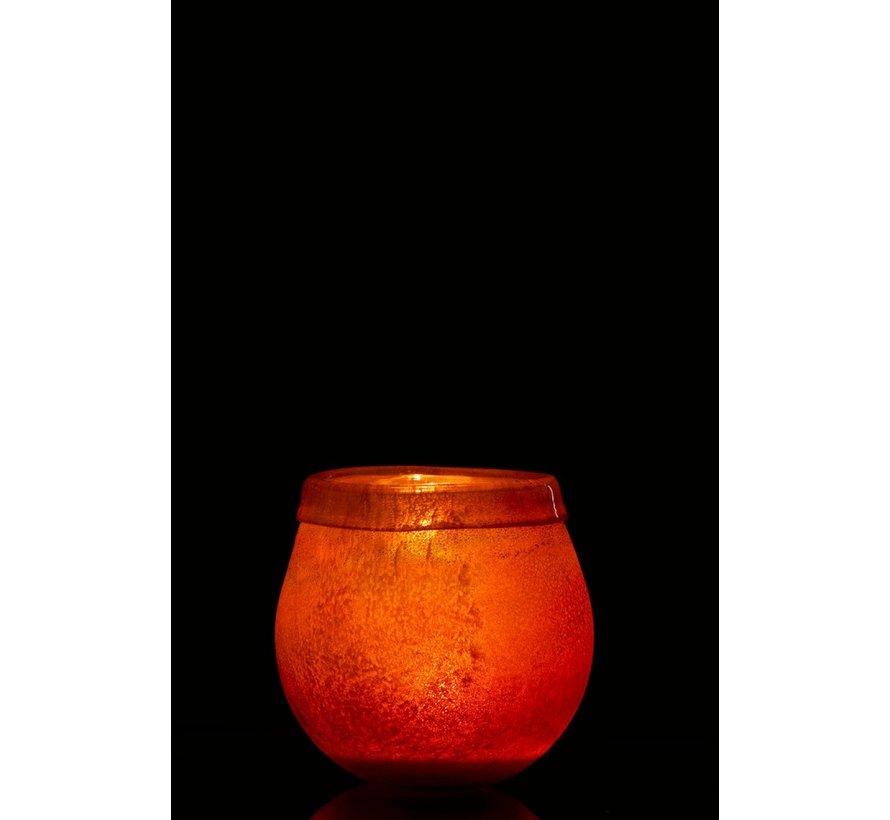 Theelichthouder Glas Blinkende Rand Licht Bordeaux - Small