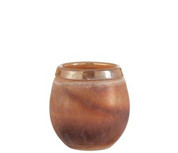 J -Line Tealight Holder Glass Bright Edge Light Bordeaux - Medium