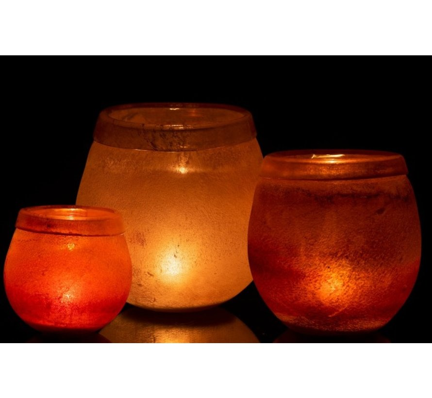 Theelichthouder Glas Blinkende Rand Licht Bordeaux - Medium