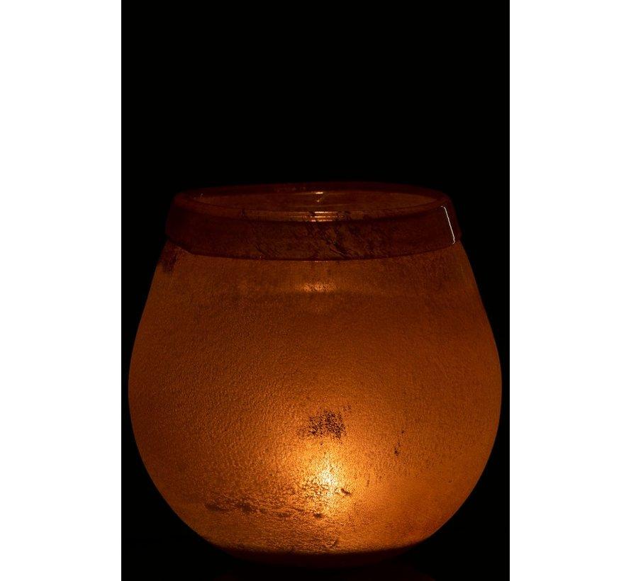Tealight Holder Glass Bright Edge Light Bordeaux - Large