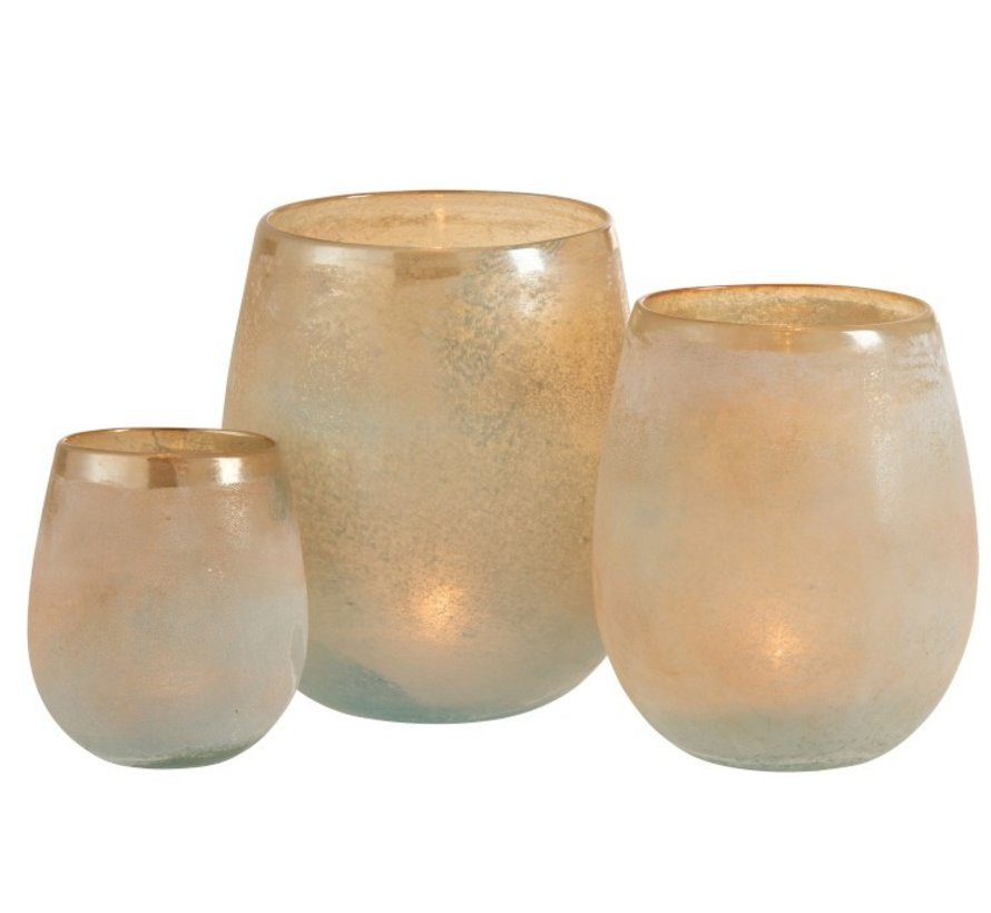 Tealight Holder Glass Shiny Edge Orange Blue - Small