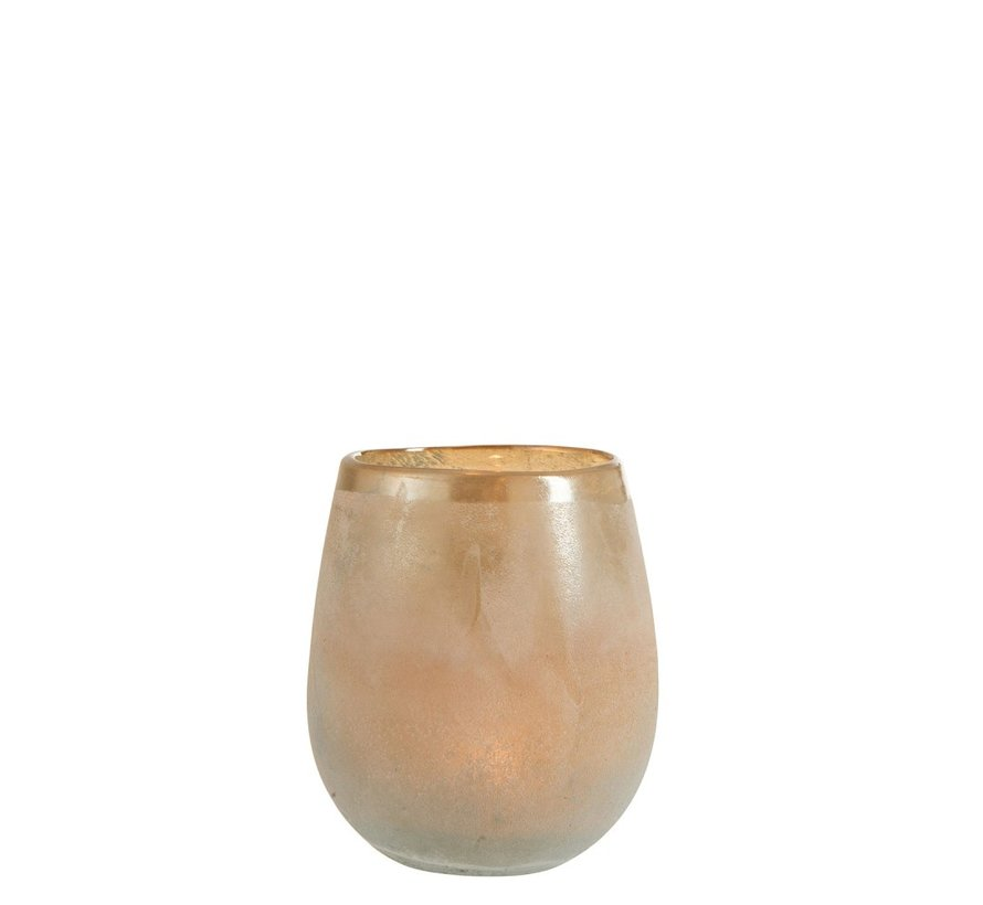 Theelichthouder Glas Blinkende Rand Oranje Blauw - Small