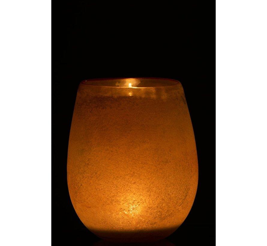Theelichthouder Glas Blinkende Rand Oranje Blauw - Medium