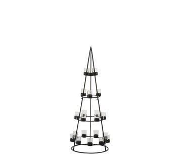 J-Line Theelichthouder Boom Metaal Glas  Zwart - Large